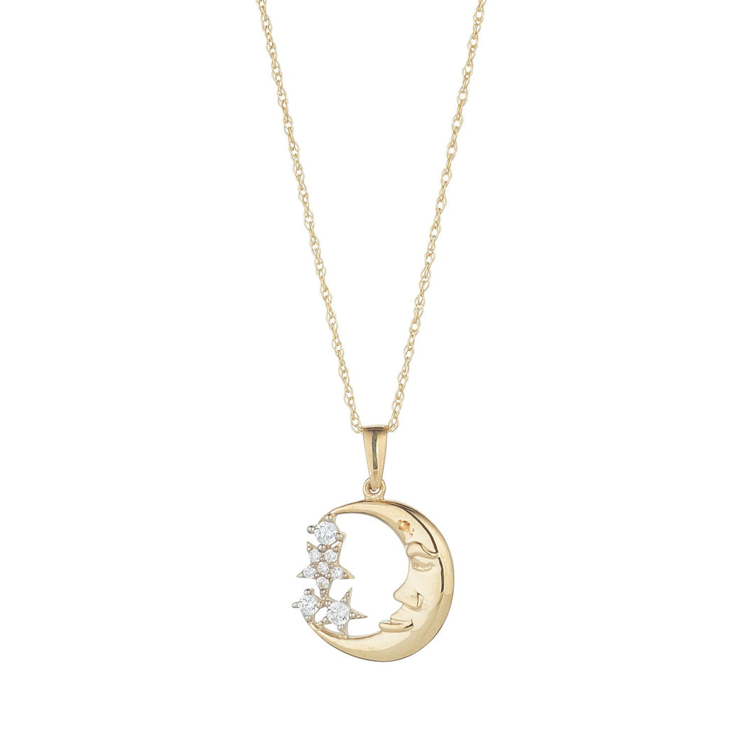 9ct Yellow Gold Moon Man Star Pendant