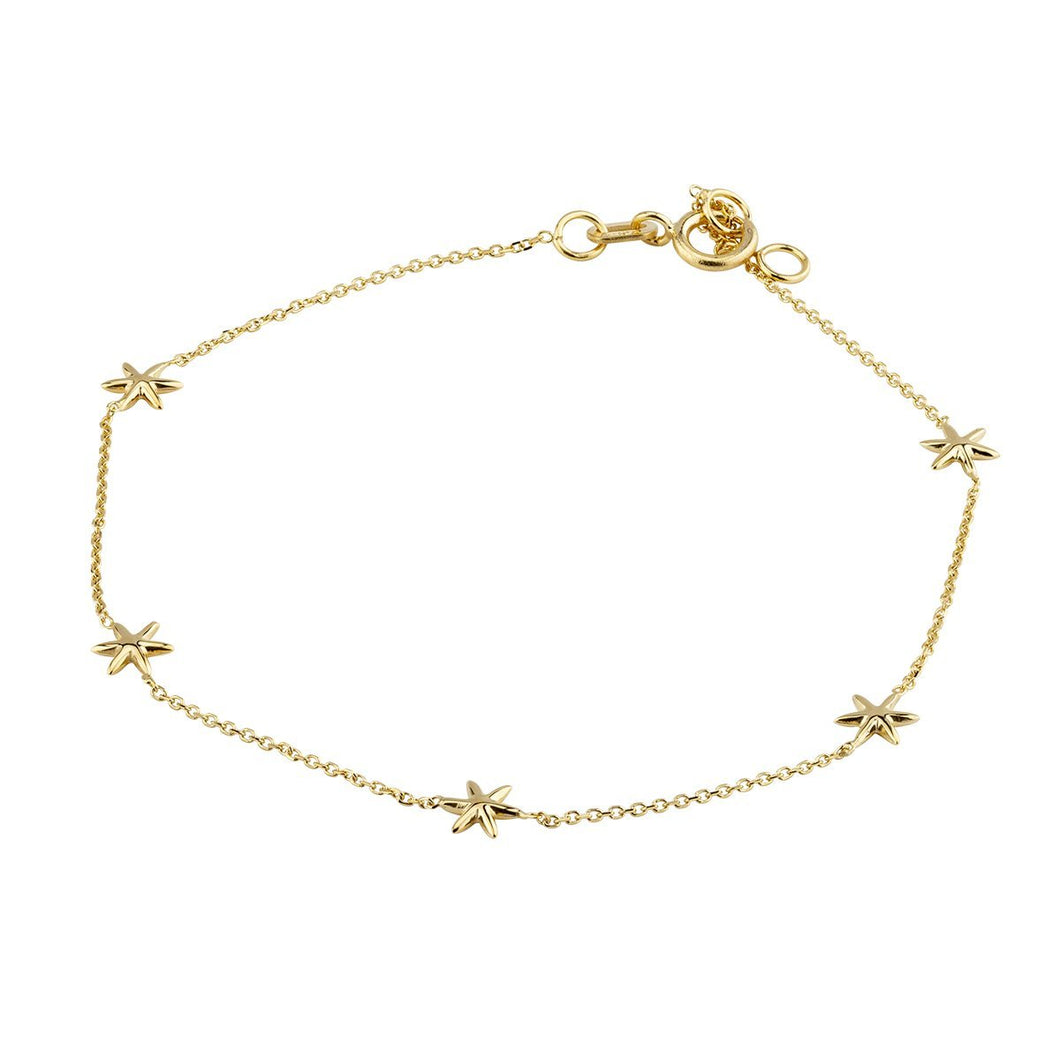 9ct Yellow Gold 5 Star Bracelet