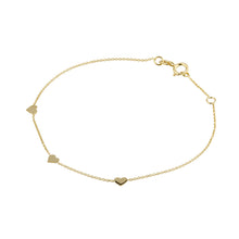 Load image into Gallery viewer, 9ct Yellow Gold 3 Heart Bracelet