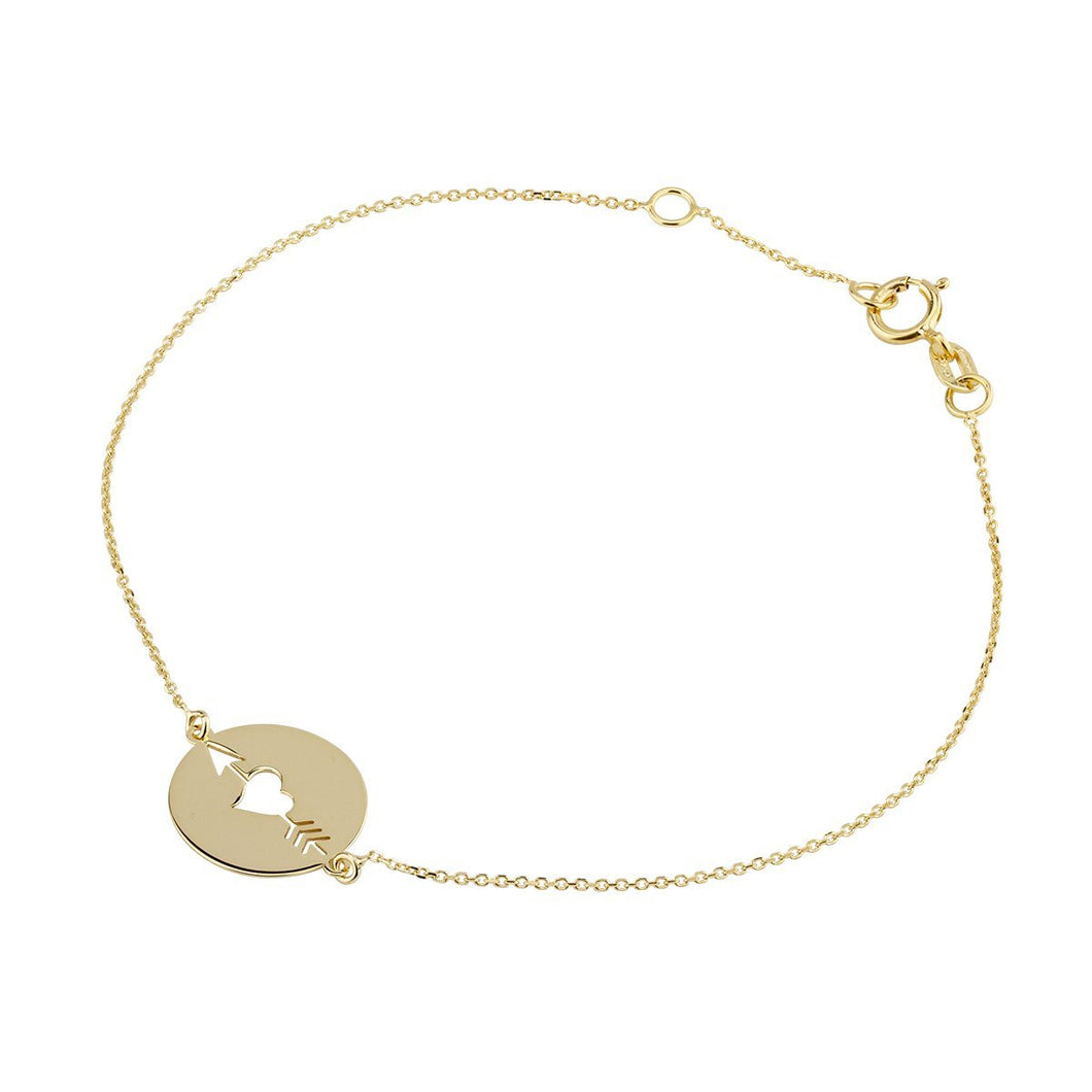 9ct Yellow Gold Heart Bracelet