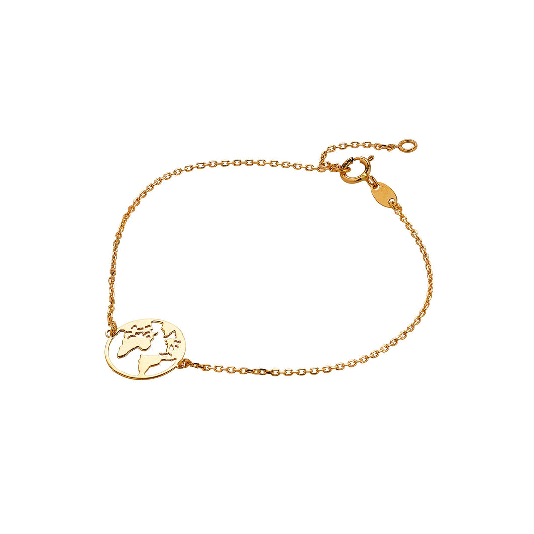 9ct Yellow Gold Map of the World Bracelet