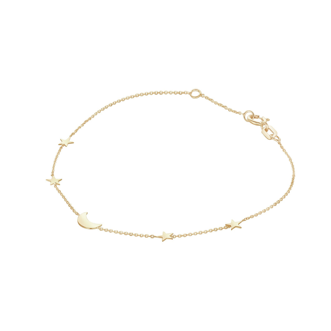 9ct Yellow Gold Moon & Star Bracelet