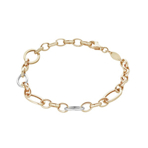 9ct Yellow& White Gold Fancy Chain Link Bracelet