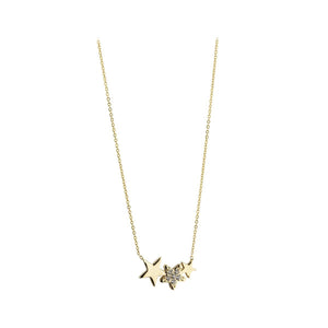 9ct Yellow Gold Cubic Zirconia Set 3 Star Necklace