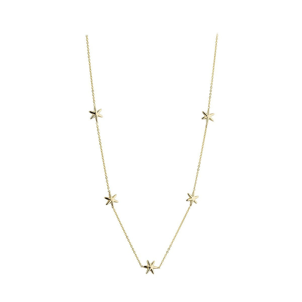 9ct Yellow Gold 5 Star Necklace