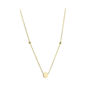 9ct Yellow Gold Small Circle Disk Necklace