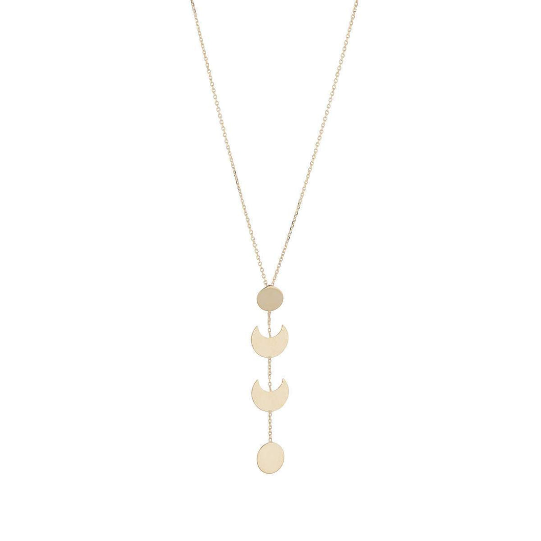 9ct Yellow Gold Moon Drop Necklace