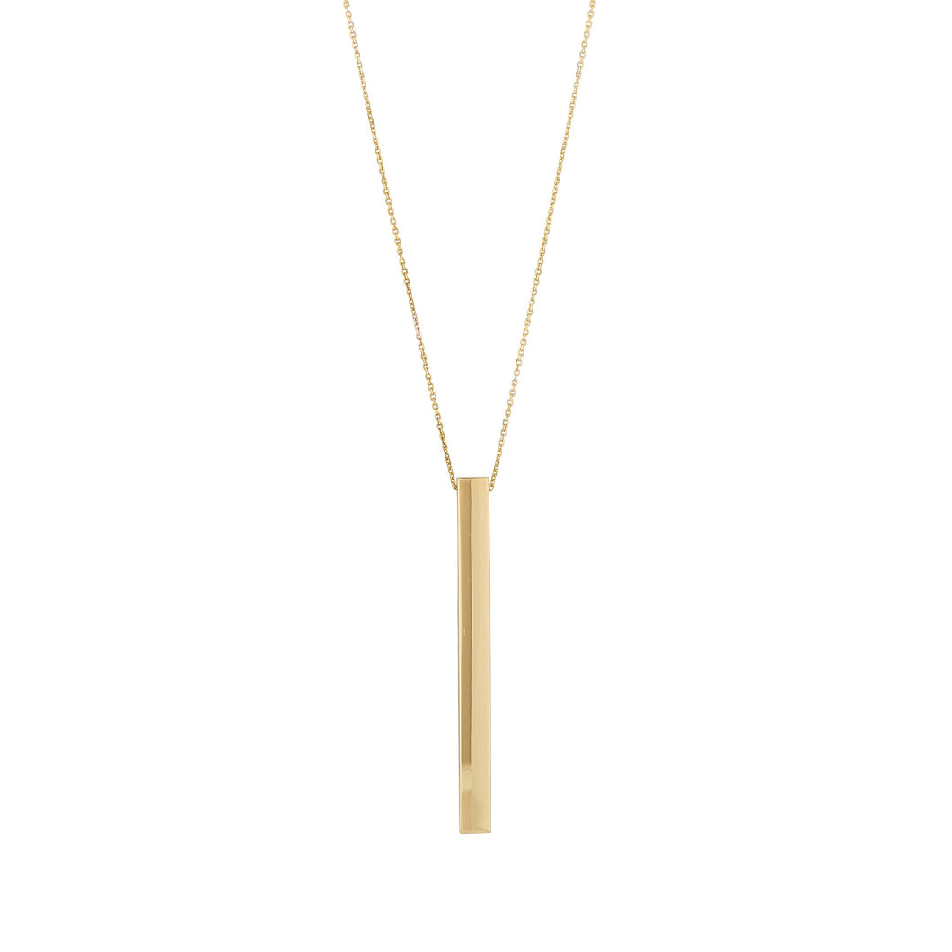 9ct Yellow Gold Engravable Bar Necklace