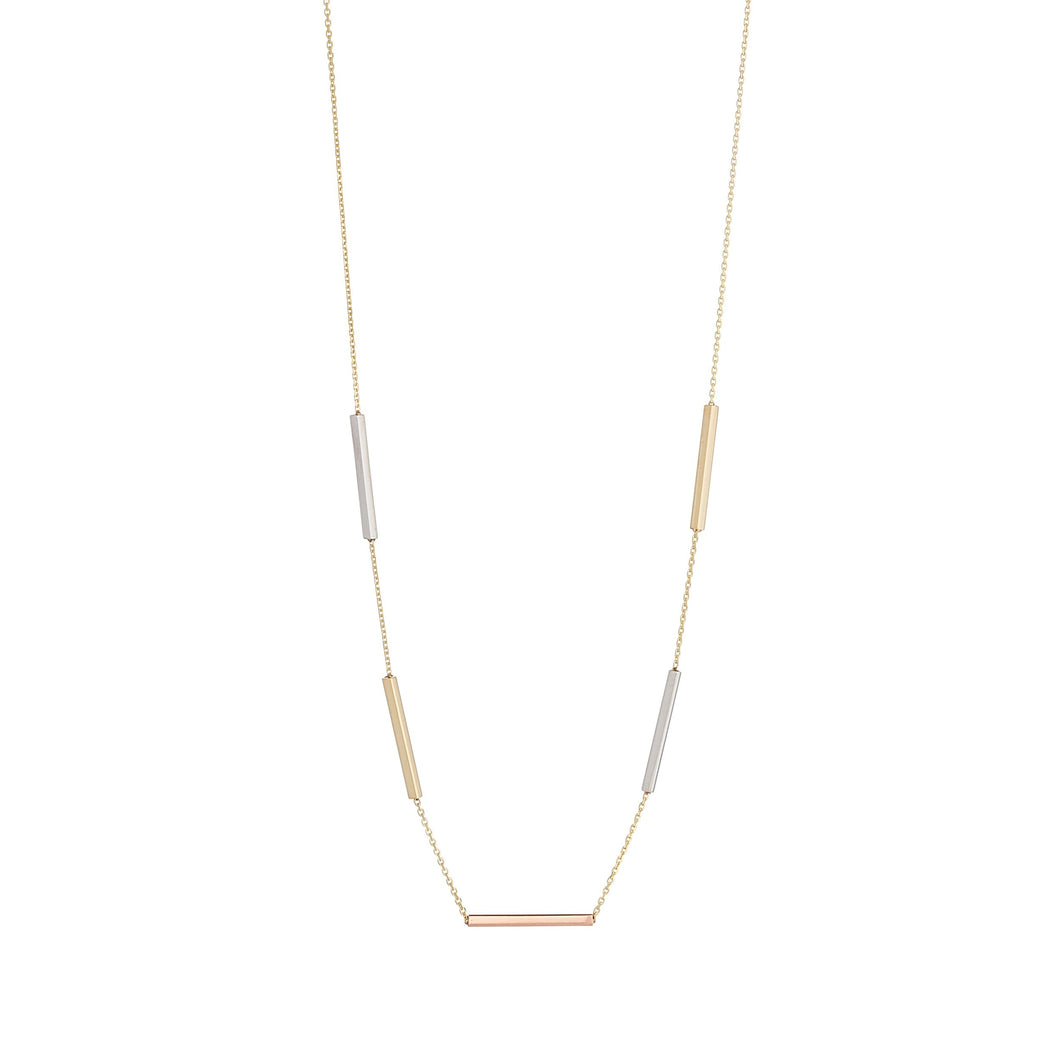 9ct Three Colour Gold Bar Necklace