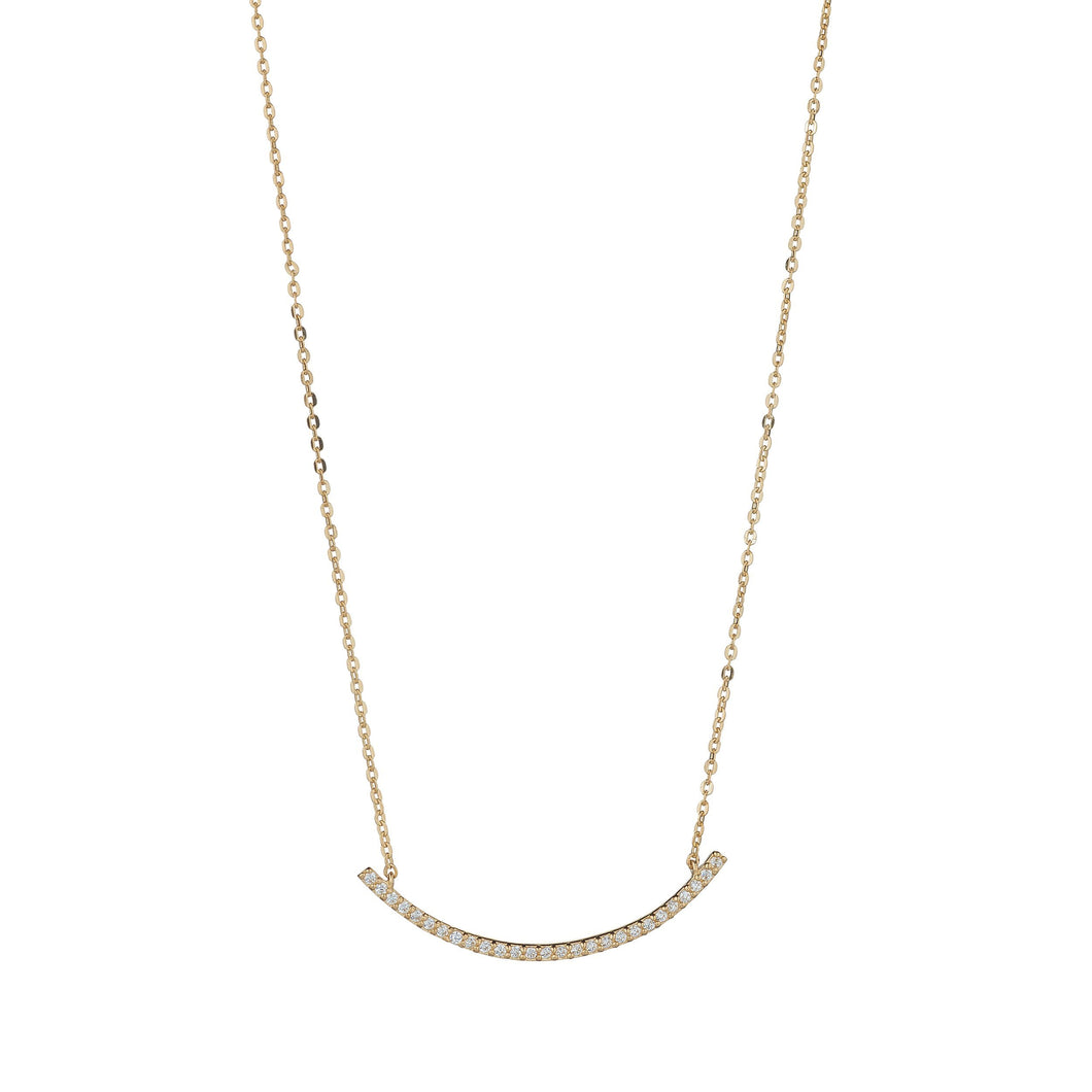 9ct Yellow Gold Cubic Arc Bar Necklace
