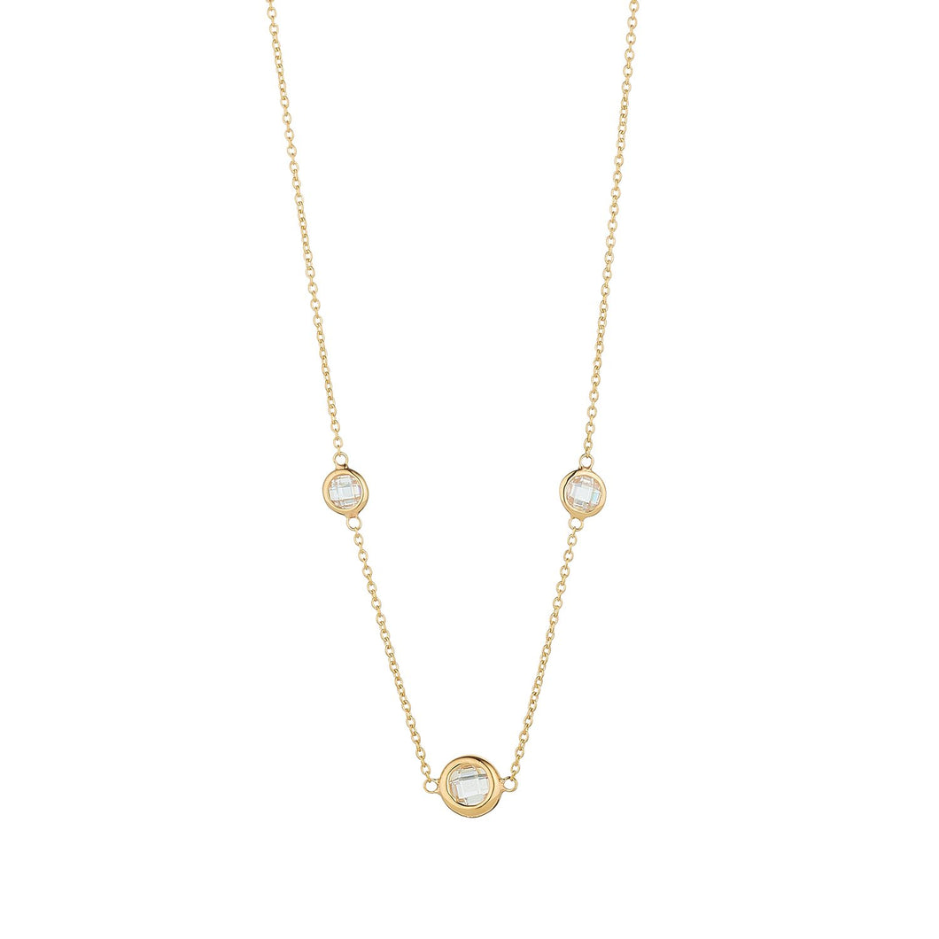 9ct Yellow Gold 3 Stone Rubover Necklace