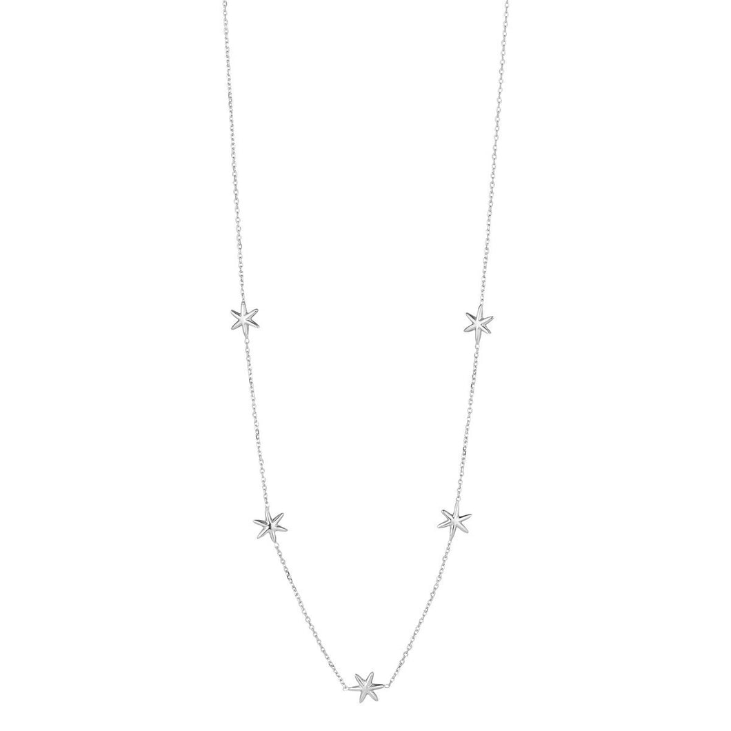 9ct White Gold 5 Star Necklace