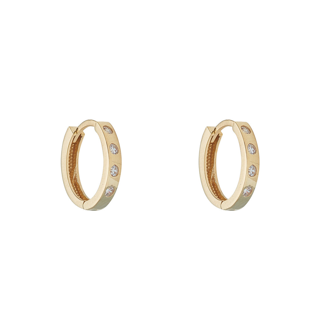 9ct Yellow Gold Cubic Set Oval Huggie Earring
