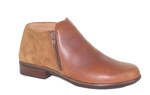 NAOT. HELM.  Side zip ankle boot.    Maple leather/Desert suede.