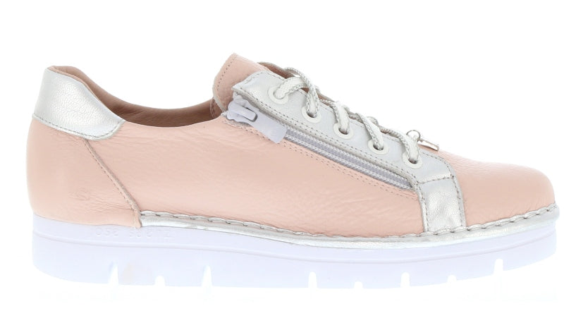 NEO by JOSE SAENZ.     Lace up/side zip sneaker.    Rosa (Soft Pink)