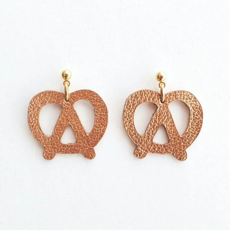 Leather Pretzel Earrings