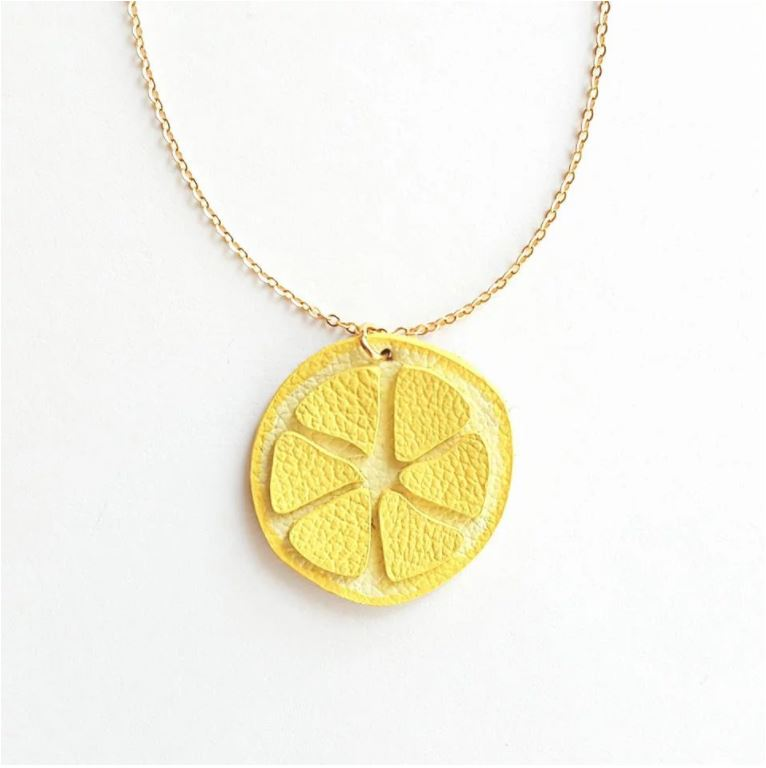 Leather Lemon Necklace