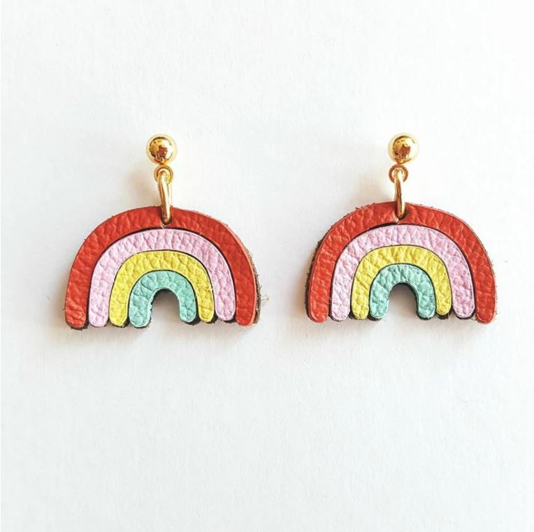 Leather Rainbow Earrings