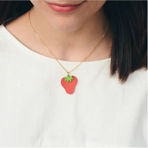 Leather Strawberry Necklace
