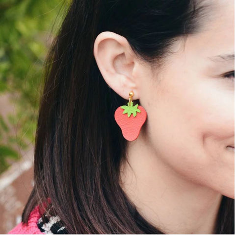 Leather Strawberry Earrings