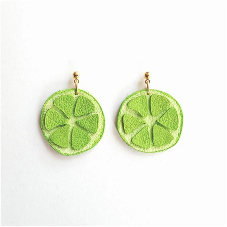 Leather Lime Earrings