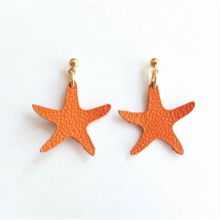 Leather Seastar Earrings