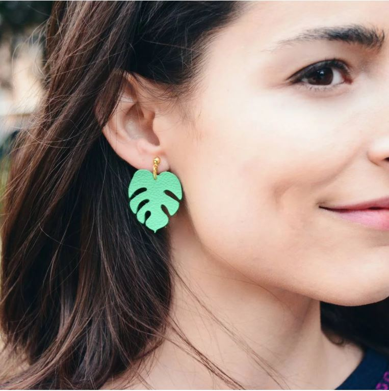 Leather Monstera Leaf Earrings