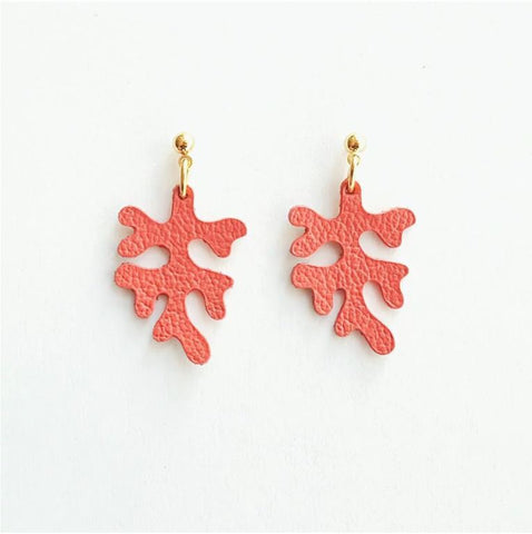 Leather Coral Earrings