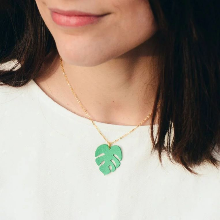 Leather Monstera Leaf Necklace