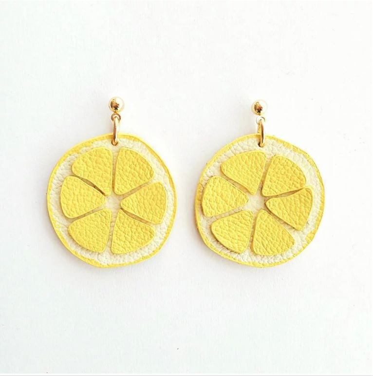 Leather Lemon Earrings