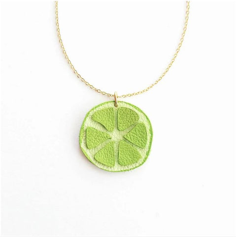 Leather Lime Necklace