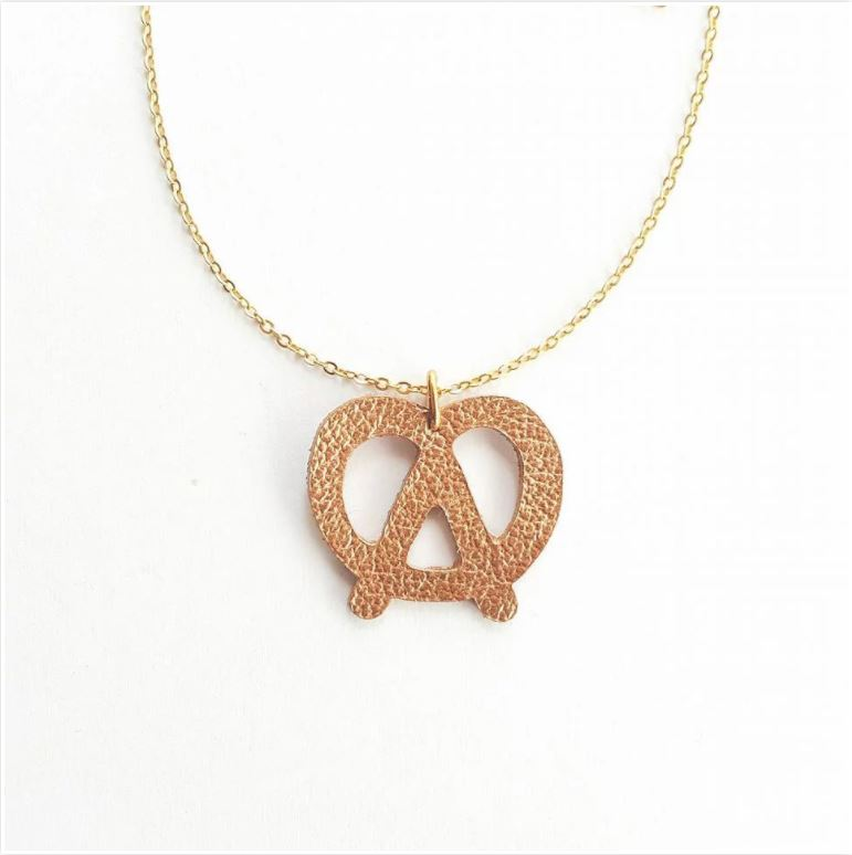 Leather Pretzel Necklace