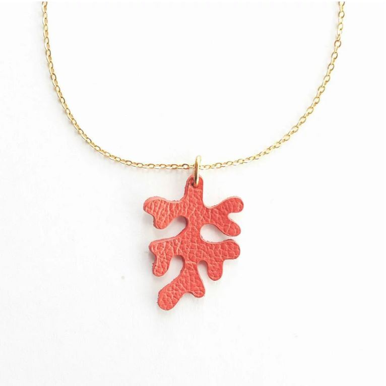 Leather Coral Necklace