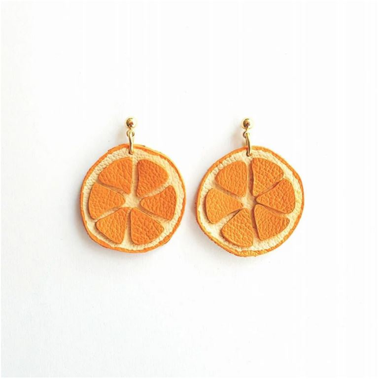 Leather Orange Earrings
