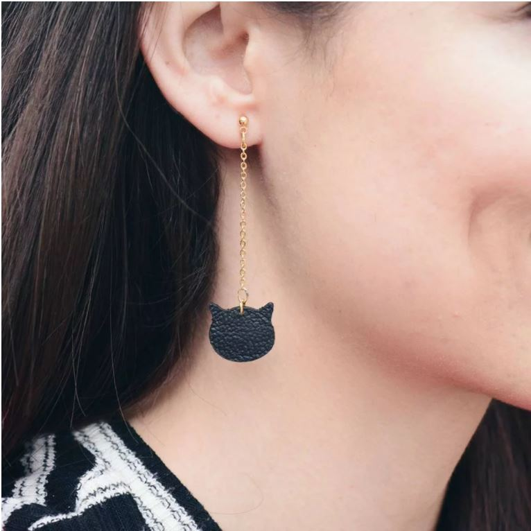 Leather Cat Earrings