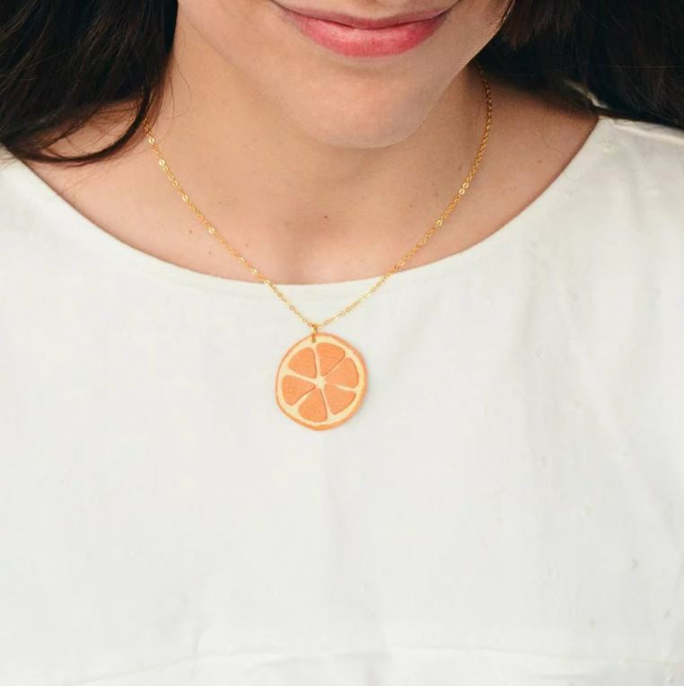 Leather Orange Necklace
