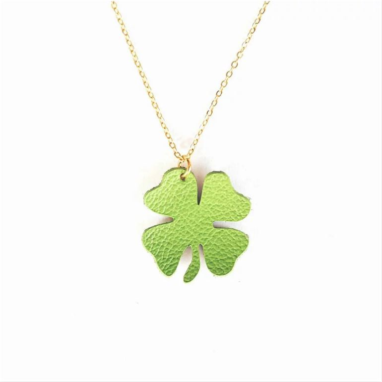 Leather Shamrock Necklace