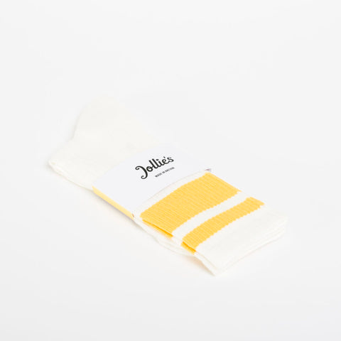 Jollie's Gym Socks with White and Yellow Stripes