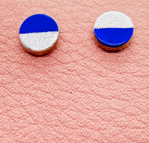 Painted Round Leather Stud Earrings