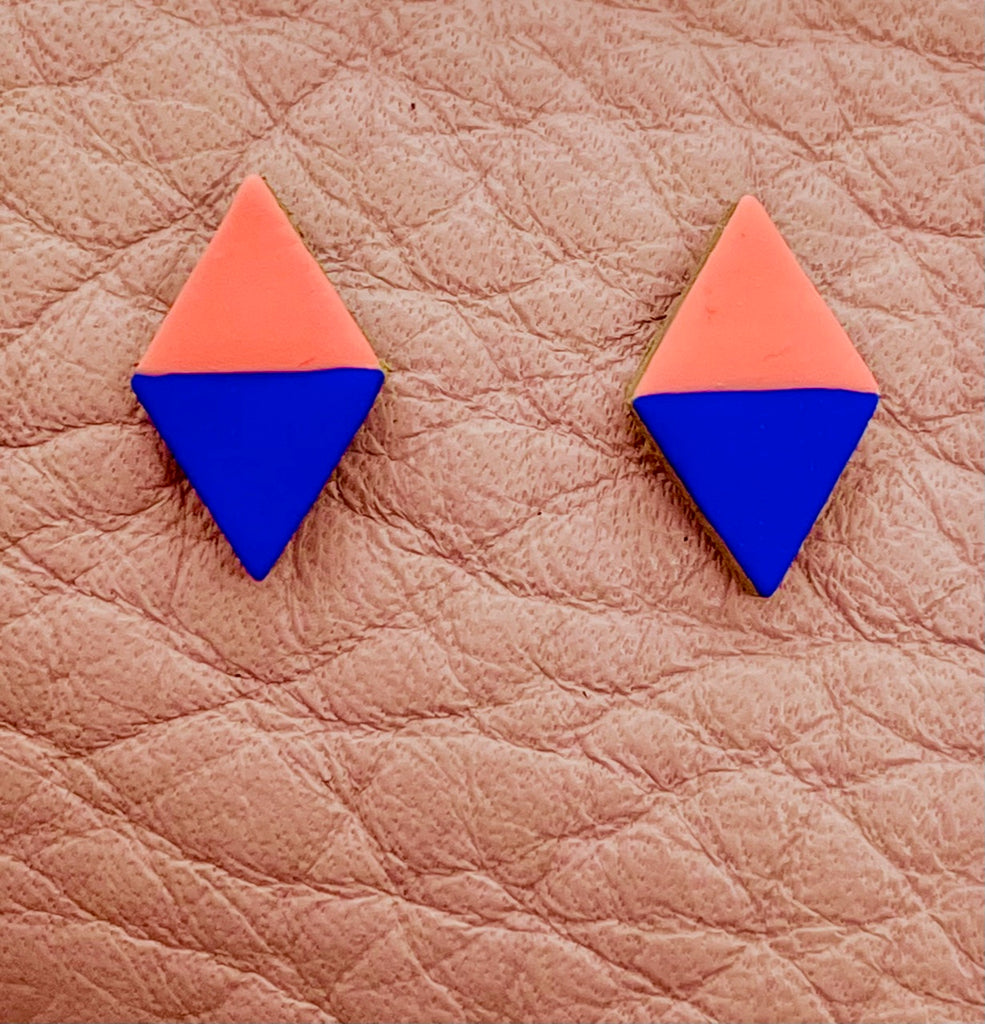 Painted Diamond Leather Stud Earrings