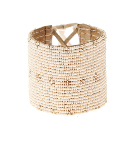 Gold Dot Triangle Leather Beaded Cuff Bracelet