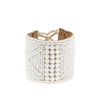White Leather Beaded Cuff Bracelet