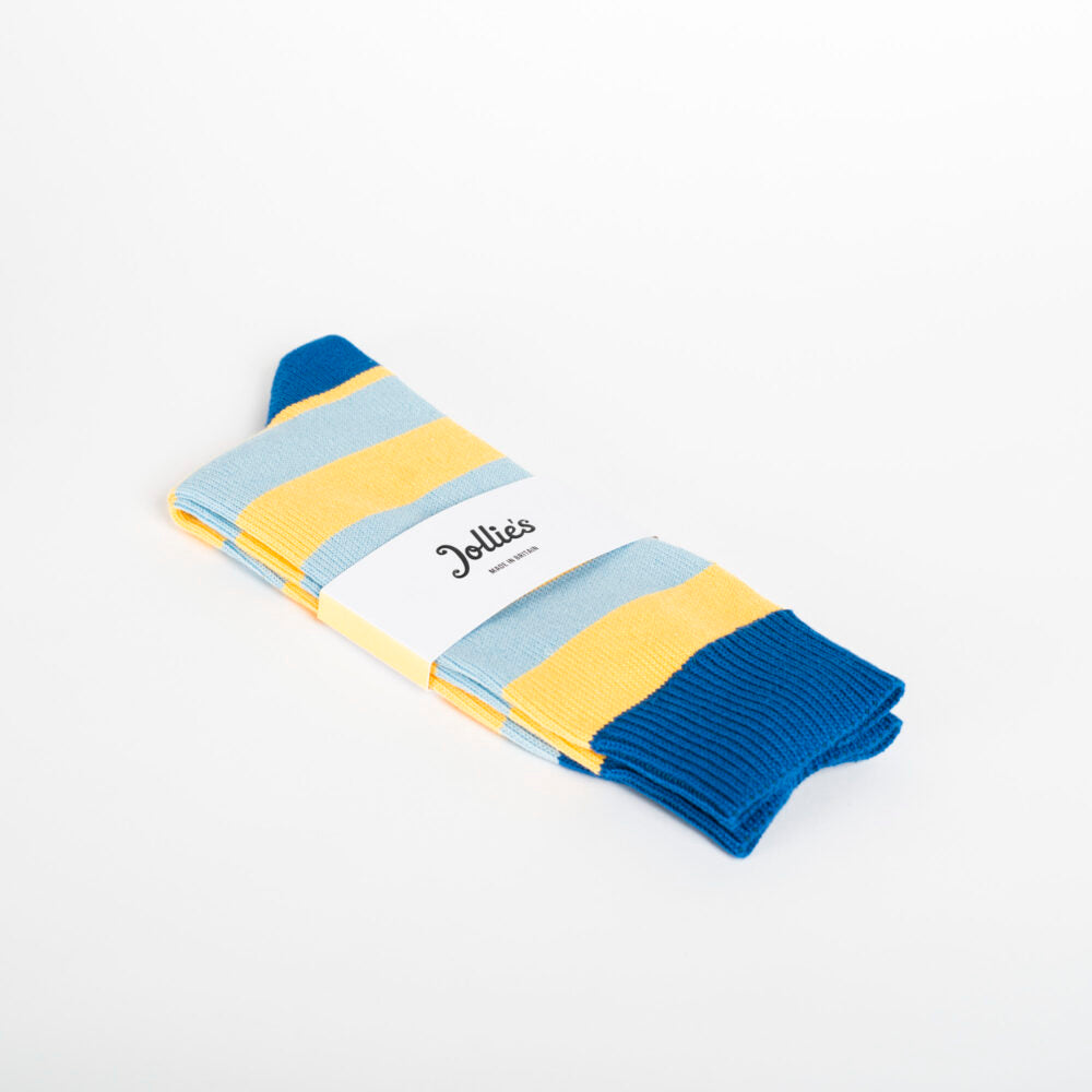 Jollie's No. 1 Socks Two Tone Blue and Yellow Stripe