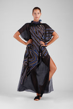 Sheer black kaftan with abstract hand cut double layer appliqué