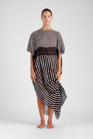 Load image into Gallery viewer, Long oversized kaftan with square and stripe batik design