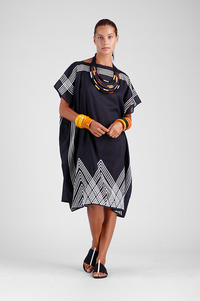 Black square kaftan with striking stitch detailing on the borders