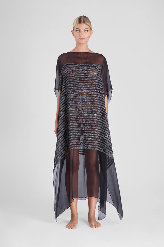 Load image into Gallery viewer, Fabryanne - Sheer kaftan with stripe appliqué