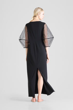 Helja - Long dress with structured balloon sleeves