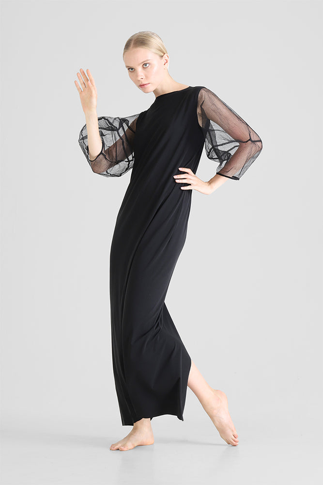 Long black dress with structured exaggerated balloon sleeves
