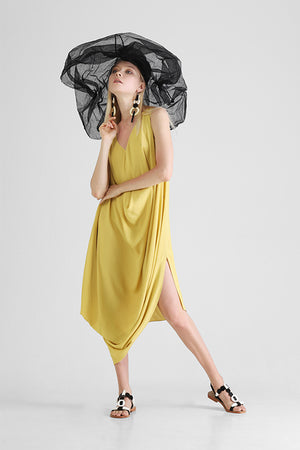 Sleeveless draped dress with asymmetrical hemline in yellow
